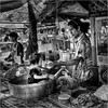 People of Thailand (3) (John Riper) Tags: johnriper street photography straatfotografie square vierkant bw black white zwartwit mono monochrome thailand streetfood floating market candid john riper xt2 fujifilm 18135 dad man kid pan bottle amphawa streetpassionaward