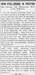 1908 - steel bridge on the north - Enquirer - 30 Apr 1908