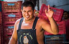 2017 - Mexico - Zihuatanejo - Coke Man (Ted's photos - For Me & You) Tags: 2017 cropped mexico nikon nikond750 nikonfx tedmcgrath tedsphotos tedsphotosmexico vignetting zihuatanejo cokeman apron bibs gorditoyonomames teet dents smile pose bokeh man male straps shirtless beard zipper
