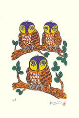 Owl (Japanese Flower and Bird Art) Tags: bird owl strigidae kinya shima modern screenprint print japan japanese art readercollection