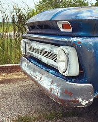 Ye Old Chevy (arrjryqp6) Tags: headlights grill truck worn weathered rusted old blue chevy10 chevrolet chevy