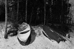 Boats in winter (Antti Tassberg) Tags: talvi bw hdr vene yö longexposure laaksolahti blackandwhite boat dark lowlight monochrome night nightscape winter espoo uusimaa finland fi