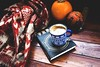 Autumn coffee break (Annamaria Cidorik) Tags: scarf winter still autumn leaf folk verne alpha7 book 50mm indie pumpkin