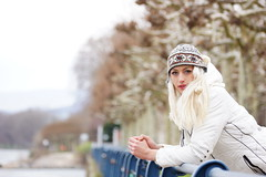 Jacquelline watching the Rhine (nudelbach) Tags: jacquellinekorada woman frau girl blond blonde white snow weis schnee winter outdoor drausen rhine rhein river fluss water wasser blue blau trees bäume biebrich wiesbaden portrait porträt bokeh