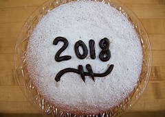 Vasilopita for the New Year! Greek New Year Cake. (ineedathis, Everyday I get up, it's a great day!) Tags: happynewyear 2018 καληπρωτοχρονια vasilopita βασιλοπιτα powdersugar darkchocolate ganache greek baking tradition nikond750 newyearscake dessert sweet cake