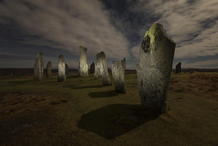 New Year's Eve Moonlight and Torchlight at the Callanish Standing Stones, Isle of Lewis, Outer Hebrides, Scotland