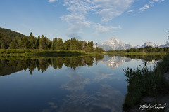 Morning Reflection At Oxbow Bend_27A1027 (Alfred J. Lockwood Photography) Tags: alfredjlockwood nature landscape oxbowbend snakeriver grandtetonnationalpark mountmoran rockymountains clouds reflection water trees riverbank wyoming summer morning