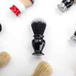 group of brushes for shaving, clean white background thumbnail
