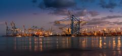 Harbour Marsxlokk (K.H.Reichert [ not explored ]) Tags: hafen kräne nightshot harbour lichter blauestunde ship containership marsaxlokk cranes night bluehour malta schiffe container