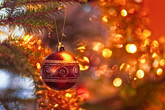 Christmas Bauble And Tinsel (k009034) Tags: 500px old tree christmas lights bokeh branch moody round pine ball holidays hanging string indoors decorations tinsel bauble celebrations finland scandinavia teamcanon