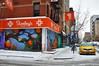Orange Blossom Time (Trish Mayo) Tags: snow winter lowereastside 100gatesproject paintedgates taxi streetscene streetscape