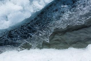 Ice Crystals on Small Stream on Matanuska Glacier