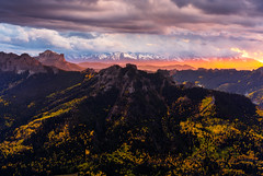 Beam of Light above Silver Jack (Matt Payne Photography) Tags: aspen autumn chimneyrock clouds colorado fall fallcolors landscape mountains ridgway sanjuanmountains sony5518 sonya7r2 sunset beam