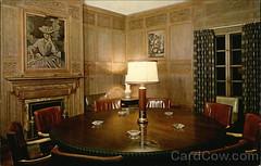 Allerton House Oak Room - Kodachrome Postcard c1945 (RLWisegarver) Tags: piatt county history monticello illinois usa il