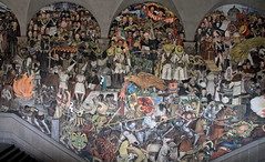 The History of Mexico  by Diego Rivera (Chemose) Tags: mexico mexique mexicocity diegorivera painting peinture mural peinturemurale fresque fresco tryptique tryptich palaisnational nationalpalace épopée histoire history peuple people hdr canon eos 7d mars marchmexico march