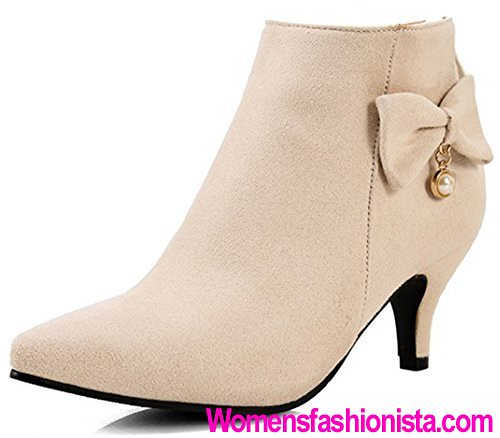ae997d89f91 Summerwhisper Women s Elegant Faux Suede Bowknot Pointed Toe Bridal Booties  Back Zipper Kitten Heel Ankle Boots