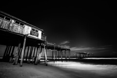 Cape Hatteras Fishing Pier [06.16.17] (Andrew H Wagner | AHWagner Photo) Tags: 5dmk3 5d3 5dmkiii 5dmarkiii 5dmark3 canon eos 1635l 1635mm f4 f4l is usm blackandwhite bw blackwhite desaturated desaturate monochrome ultrawideangle wideangle outdoors explore exploration exploring summer water ocean beach atlantic longexposure northcarolina nc obx outerbanks salvo salvonorthcarolina salvonc vacation beaches leadinglines fishingpier pier abandoned forgotten capehatteras hatteras