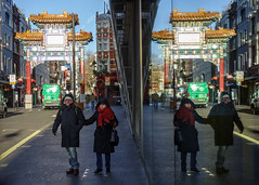 """""""Let's get out of his way"""" (USpecks_Photography) Tags: london wardourstreet chinatown reflection streetphotography symmetry couple"""