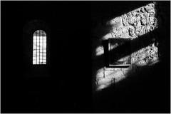 Painting made of stone and light (Cécile75 - Film only) Tags: chalais monastre monastry church light shadow window ombre lumière contrase iso3200 bw blackwhite blackandwhite bwfp nb noiretblanc noirblanc stones pierres ombres film analogue analogique atmosphere argentique monochrome