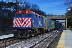 Next Stop, Indian Hill (BravoDelta1999) Tags: unionpacific up railroad chicagoandnorthwestern cnw railway metra metx upn northline kenoshasubdivision illinois winnetka station emd f40ph 172 operationnorthpole onp