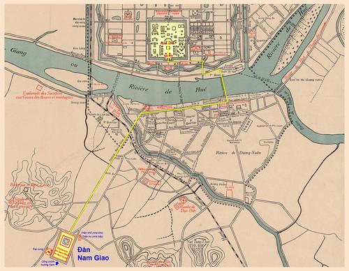Lộ trình đám rước Tế Nam Giao (vẽ trên nền bản đồ Huế 1930)