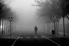 From the fog (jaume zamorano) Tags: blancoynegro blackandwhite blackwhite boira blancinegre brouillard bw lleida monochrome street streetphoto fog foggy urban noiretblanc nikon nikonistas d5500 streetphotography