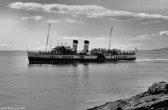 Scotland West Highlands Argyll the paddle steamer Waverley sailing along the coast of the island of Cumbrae 9 August 2017 by Anne MacKay (Anne MacKay images of interest & wonder) Tags: scotland west highlands argyll clyde paddle steamer waverley sailing sea coast island cumbrae monochrome blackandwhite passenger ship xs1 9 august 2017 picture by anne mackay
