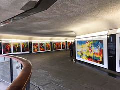 Art by Stephen B. Whatley: Every Day at Tower of London. (Stephen B. Whatley) Tags: art expressionism toweroflondon towerhillunderpass towerhillstation london architecture exhibit exhibition artgallery publicart publicartcommission bbc theroyalcollection queenelizabeth westminstercathedral uk england tourism towerbridge stephenbwhatley artiststephenwhatley artiststephenbwhatley modernart painting oilpainting contemporaryart whatley refelections reflection stone walls walkway people tourists anawesomeshot abigfave blueribbonwinner