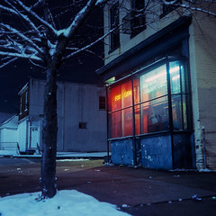 (patrickjoust) Tags: mamiya c330 s sekor 80mm f28 fujichrome t64 tlr twin lens reflex 120 6x6 medium format fuji chrome slide e6 color reversal expired discontinued tungsten balanced film cable release tripod long exposure night after dark manual focus analog mechanical patrick joust patrickjoust baltimore maryland md usa us united states north america estados unidos snow corner store chinese restaurant carryout neon sign tree westport