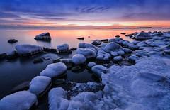 Ice Cold After Sunset (tinamar789) Tags: ice snow rocks horizon sunset sea seashore seascape sky seaside winter january cold frost freezing frozen bluehour darkening dusk water landscape serene peaceful lauttasaari helsinki finland