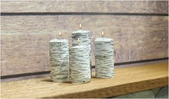 Birch Bark Candles for Barbie (Foxy Belle) Tags: doll candles craft diy make tutorial rustic cabin barbie 16 playscale dollhouse christmas glue stick birch bark