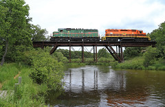 NB at Stronach (GLC 392) Tags: little manistee river stronach bridge im imrr illinois midland railroad railway train emd sd402 sd20 81 3406 mi michigan marquette mqt bald eagle job forest tree sky locomotive