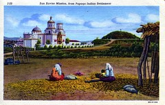 San Xavier Mission from Papago Indian Settlement Tucson AZ (Edge and corner wear) Tags: vintage postcard pc people az arizona tucson san xavier mission spanish ramada figures indians