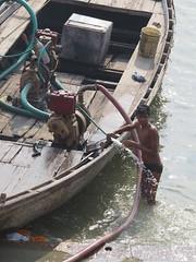 varanasi 2017 (gerben more) Tags: boat man shirtless cleaning india varanasi benares ganga ganges