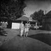 twins (HOOVER14) Tags: found film 127 black and white kodak brownie photo from the 1960s teenagers car garage