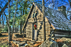A Christmas Day (Jen_Vee) Tags: hut cabin woods chapel memorial wreath holiday christmas valleyforge revolution encamptment winter cold blue sky trees bow hdr tree wood building