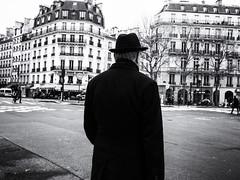 The Parisian (Feldore) Tags: paris timelesss fashion candid street man hat classic anonymous behind crossing french france feldore mchugh em1 olympus 17mm 18