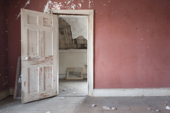 The Photographer's House (Jonnie Lynn Lace) Tags: abandoned america american usa unitedstates decay decaying derelict ruins peeling paint history historic old interior indoors home house red white relics nikkor nikon d750 digital leftbehind light shadows beautiful urbex exploration ny winter cold colours 24mm modernruins art door arte peelingpaint shadow classic