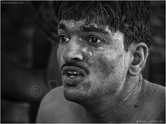 Wrestler (channel packet) Tags: india kolkata mud wrestler portrait monochrome davidhill