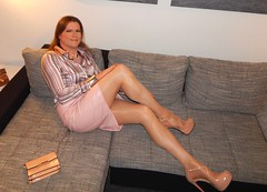 One of my all time favorite looks... (Rikky_Satin) Tags: shiny silk satin blouse stripes pink leather pencil skirt pumps highheels peeptoe pantyhose handbag crossdresser crossdressing transformation feminization tgirl gurl sissy secretary