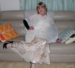 Cushion the blow (janegeetgirl2) Tags: transvestite crossdresser crossdressing tgirl tv ts monsoon acapulco silk evening dress heels glamour chiffon shawl stilettos high black acetate lining jane gee cowl neck opera gloves