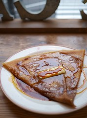 Crepe with Caramel Sauce (Long Sleeper) Tags: sweets dessert food cafe galettoria crepe butter caramelsauce shibuya tokyo japan dmcgx1