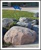 A Bench Beyond the Boulders for Bench Monday (sjb4photos) Tags: michigan annarbor washtenawcounty skylinehighschool bench benchmonday hbm