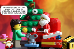 Santa Shot #5 - Mutual funds (y20frank) Tags: lego santaclaus xmas christmas weihnachten weihnachtsmann minifigures humor season winter