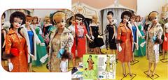 BROCADE BABES (ModBarbieLover) Tags: brocade barbie 4 5 1962 1963 1953 1964 fashion doll evening splendour golden elegance red gold blonde brunette mattel fur hat gloves purse pearls vintage