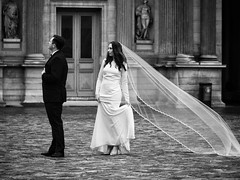 Runaway Train (Feldore) Tags: wedding shoot photoshoot photography paris france french bride groom annoyed fight white dress train louvre honeymoon feldore mchugh em1 olympus 35100mm panasonic