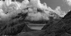 Grand Dixence monochrome (eichlera) Tags: switzerland valais barrage granddixence dam mountains clouds lake artificial
