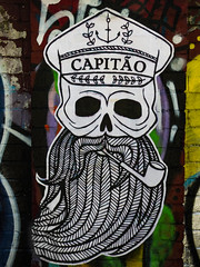 Captain Long John Silver (Beard) (Steve Taylor (Photography)) Tags: captain longjohnsilver capitao pipe skull cap beard anchor art graffiti pasteup wheatup wheatpaste streetart spooky eerie uk gb england greatbritain unitedkingdom london