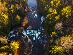 First drop of Potato Falls (Daniel000000) Tags: potato falls waterfall fall autumn river tree trees nature landscape drone dji water green ice icy winter wisconsin gurney north art light midwest park new spark uav