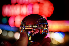 Inverted public market (matthucke) Tags: lensball pikeplace pikeplacemarket seattle neon signs
